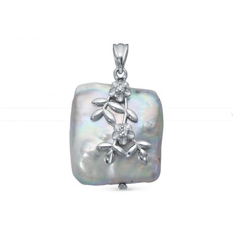 Кулон из серебра с белой барочной жемчужиной 20 мм. Артикул 12765