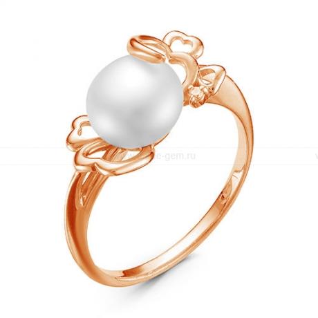 Кольцо из красного золота с белой жемчужиной 7,5-8 мм. Артикул 12774