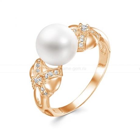 Кольцо из красного золота с белой жемчужиной 9,5-10 мм. Артикул 12776
