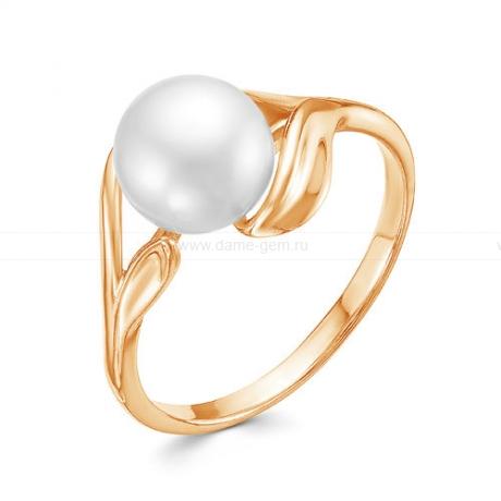 Кольцо из красного золота с белой жемчужиной 7,5-8 мм. Артикул 12779