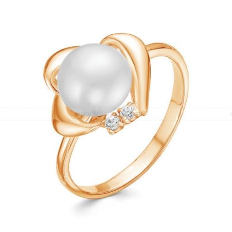 Кольцо из красного золота с белой жемчужиной 7,5-8 мм. Артикул 12781