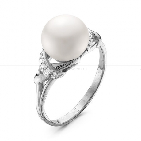 Кольцо из белого золота с белой жемчужиной 8,5-9 мм. Артикул 12786