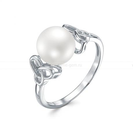 Кольцо из белого золота с белой жемчужиной 8,5-9 мм. Артикул 12788