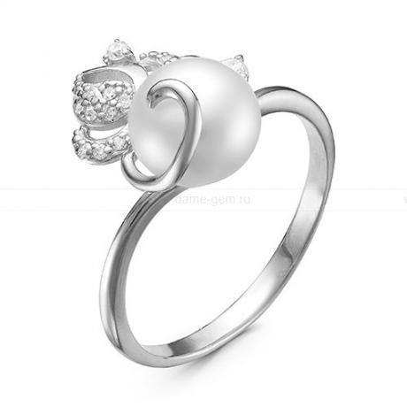 Кольцо из белого золота с белой жемчужиной 7,5-8 мм. Артикул 12792