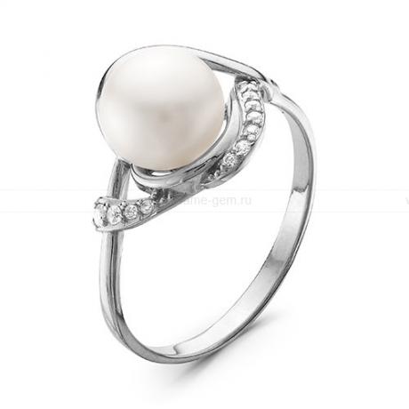 Кольцо из белого золота с белой жемчужиной 7-7,5 мм. Артикул 12795