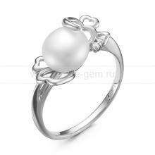 Кольцо из белого золота с белой жемчужиной 7,5-8 мм. Артикул 12798