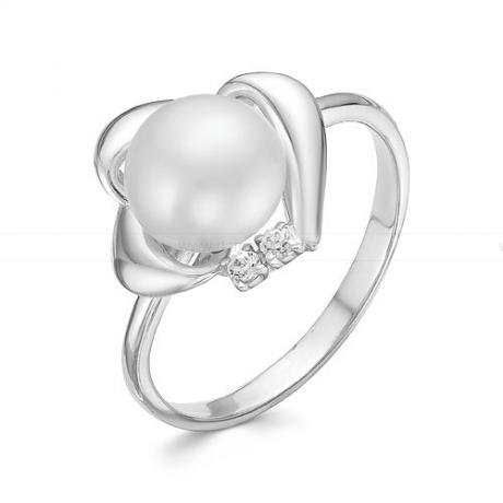 Кольцо из белого золота с белой жемчужиной 7,5-8 мм. Артикул 12801