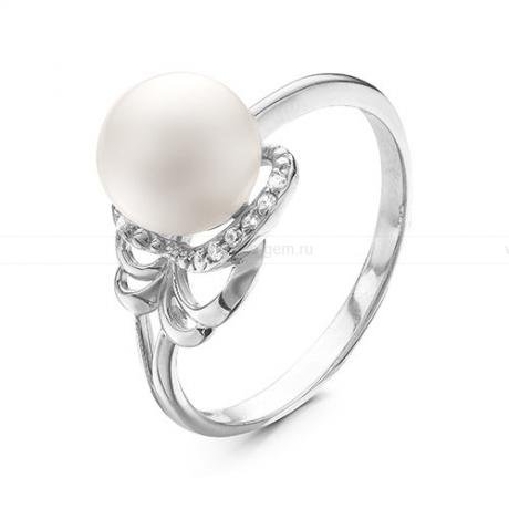 Кольцо из белого золота с белой жемчужиной 8,5-9 мм. Артикул 12802