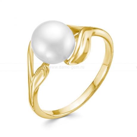 Кольцо из желтого золота с белой жемчужиной 7,5-8 мм. Артикул 12808