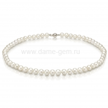 Ожерелье из белого круглого речного жемчуга 7-7,5 мм. Артикул 12810
