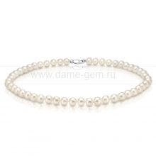 Ожерелье из белого круглого речного жемчуга 6,5-7 мм. Артикул 12811