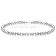 Ожерелье из серого круглого морского жемчуга 6,5-7 мм. Артикул 7608