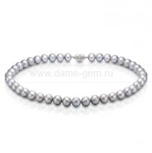 Ожерелье из серого круглого морского жемчуга 9,5-11 мм. Артикул 7609