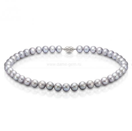 Ожерелье из серого круглого морского жемчуга 10-11 мм. Артикул 7609