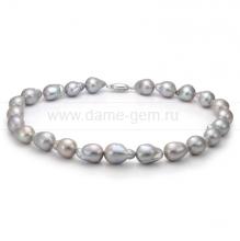 Колье (ожерелье) из серого речного жемчуга. Артикул 7611