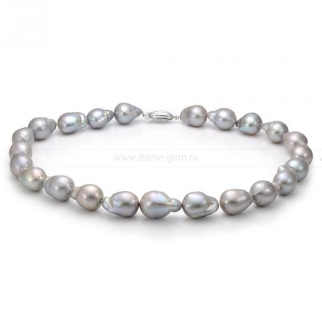 Колье (ожерелье) из серого барочного жемчуга 13-16 мм. Артикул 7611