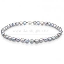 Колье (ожерелье) из серого речного жемчуга. Артикул 7612