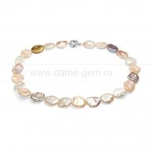 """Колье (ожерелье) """"микс"""" из розового барочного жемчуга 13-15 мм. Артикул 7613"""