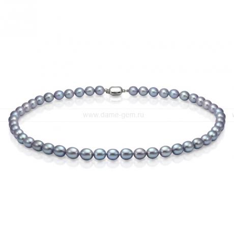Ожерелье из серого рисообразного речного жемчуга 9-10 мм. Артикул 7614