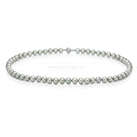 Ожерелье из серебристого морского жемчуга Акойя (Япония) 7,5-8 мм. Артикул 7618