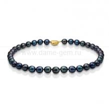 Колье (ожерелье) из черного речного жемчуга. Артикул 7621