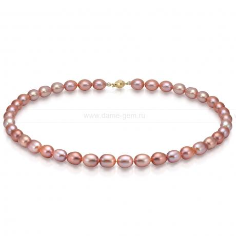 Ожерелье из лавандового рисообразного речного жемчуга 7,5-8 мм. Артикул 7626