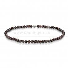 Ожерелье из черного морского круглого жемчуга 6,5-7 мм. Артикул 7631