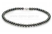 Ожерелье из черного круглого морского жемчуга Акойя (Япония) 7,5-8 мм. Артикул 7636