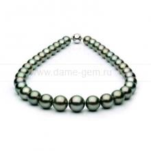 Ожерелье из черного круглого морского Таитянского жемчуга 11,2-14,2 мм. Артикул 7637
