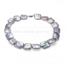 Колье (ожерелье) из серебристого барочного речного жемчуга. Артикул 7644