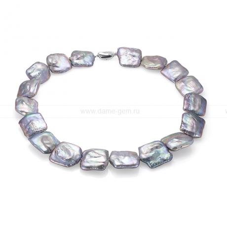 Колье (ожерелье) из серебристого барочного жемчуга 17 мм. Артикул 7644