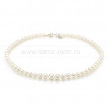 Ожерелье из белого круглого морского жемчуга 4-8,5 мм. Артикул 7651