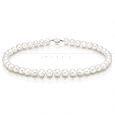 Колье (ожерелье) из белого круглого речного жемчуга 9,5-10,5 мм. Артикул 7668