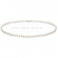 Ожерелье из белого овального речного жемчуга 5-5,5 мм. Артикул 7672