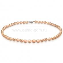 Ожерелье из персикового рисообразного речного жемчуга 7,5-8 мм. Артикул 7676