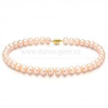 Ожерелье из персикового овального речного жемчуга 9-10 мм. Артикул 7677