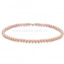 Ожерелье из персикового круглого речного жемчуга 7-7,5 мм. Артикул 7680