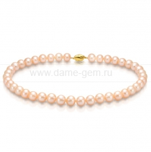 Ожерелье из персикового морского круглого жемчуга 9,5-10,5 мм. Артикул 7685