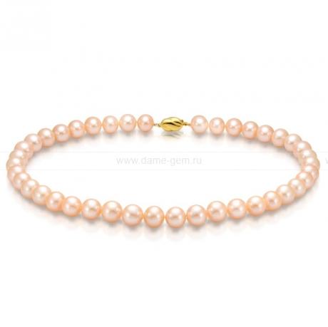 Колье (ожерелье) из персикового морского жемчуга. Артикул 7685
