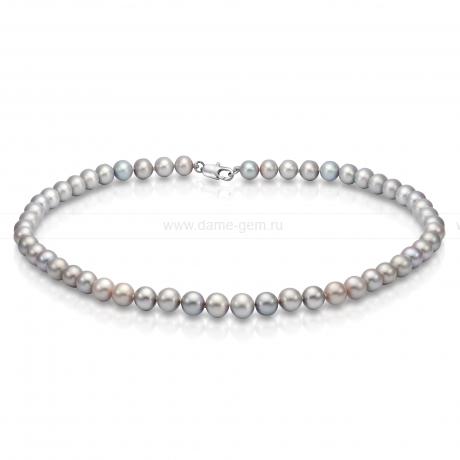 Ожерелье из серого круглого речного жемчуга 8-8,5 мм. Артикул 7687