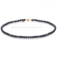 Колье (ожерелье) из черного речного жемчуга. Артикул 7689