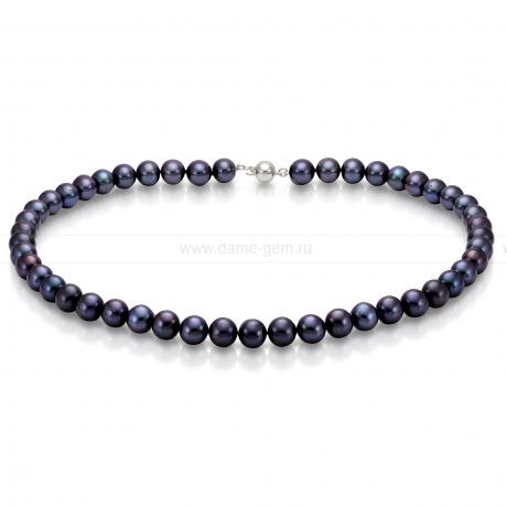 Ожерелье из черного круглого речного жемчуга 7,5-8 мм. Артикул 7690