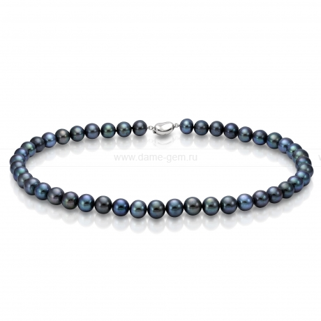 Ожерелье из черного круглого морского жемчуга 7,5-8 мм. Артикул 7692
