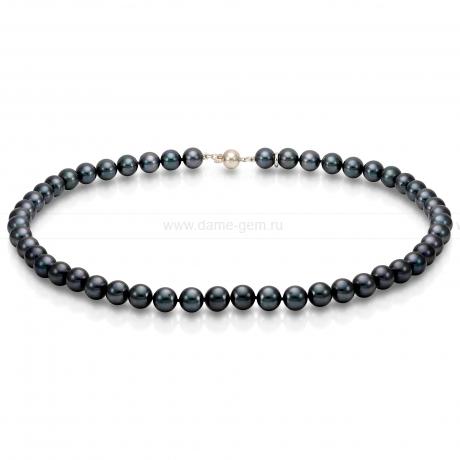 Ожерелье из черного круглого морского жемчуга 9-10 мм. Артикул 7693