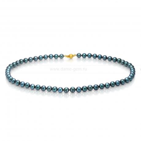 Ожерелье из черного круглого морского жемчуга Акойя (Япония) 6-6,5 мм. Артикул 7695