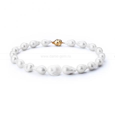 Колье (ожерелье) из белого барочного жемчуга 13-16 мм. Артикул 7704