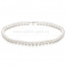 Колье (ожерелье) из белого морского жемчуга Акойя 7-7,5 мм. Артикул 7713