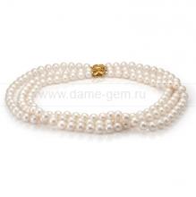 Ожерелье в 3 ряда из белого круглого речного жемчуга 8,5-9,5 мм. Артикул 7717