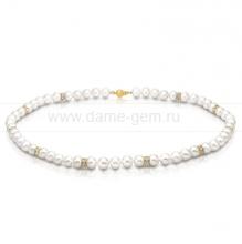 Ожерелье со стразами из белого круглого речного жемчуга 7-7,5 мм. Артикул 7727