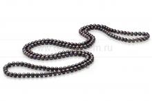 Бусы из черного круглого речного жемчуга 7,5-8 мм. Артикул 7735